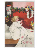 Santa Child in Bed Christmas Stocking 1908 postcard - $11.88