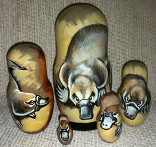 Platypus on Five Russian Nesting Dolls. Duck-Billed Platypus. Wildlife. - $49.00