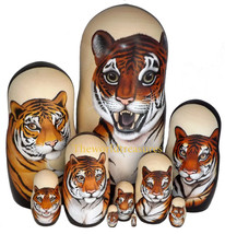 Tigers on the Set of Ten Russian Nesting Dolls. - $249.00