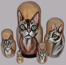 Devon Rex on Russian Nesting Dolls. Cats. - $48.00
