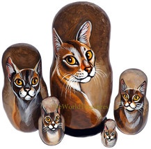 Chausie on Russian Nesting Dolls. Cats. - $48.00