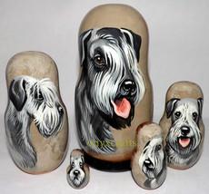 Cesky Terrier on Five Russian Nesting Dolls.  Dogs. - $48.00