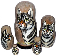 California Spangled on Five Russian Nesting Dolls. Cats. - $48.00