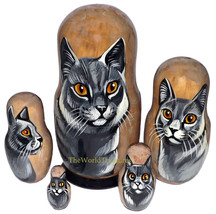 Chartreux on Five Russian Nesting Dolls. Cats. - $48.00