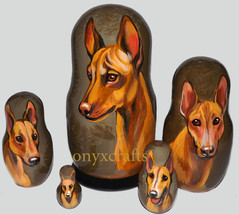 Cirneco dell'Etna on Five Russian Nesting Dolls. Dogs. - $49.00