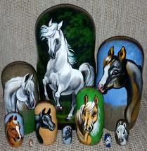 Arabian Horses on the Set of Ten Russian Nesting Dolls. White. - $199.00