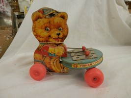 vintage Fisher Price Teddy Xylophone 1966 Teddy wood Pull Toy original l... - $26.99