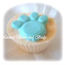 pet paw cupcake soap, bulk cupcake soap, dog paw soap, handmade soap, wh... - $112.50