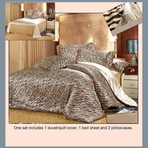 Tan Silk Zebra Duvet Cover 4 Pc Bed Set King Queen Full Top Sheet & 2 Pillowcase