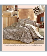 Tan Silk Zebra Duvet Cover 4 Pc Bed Set King Queen Full Top Sheet & 2 Pi... - $189.95+