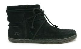 UGG AUSTRALIA Reid Women's Soft Suede Moccasin 1019129 - Black - Size 8.5 - NEW - $93.49