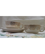 Vintage Crooksville Iva-lure Pink Roses Teacups with Saucers // Made in USA - $15.25