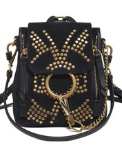 New Chloe Faye Mini Backpack Constellation Studs Navy Leather & Suede  Bag - $27.516,28 MXN