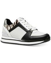 Michael Kors MK Women's Billie Trainer Mesh Sneakers Shoes Black Optic White