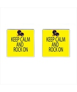 Keep Calm And Rock On Chrome Square Cufflinks - $15.99