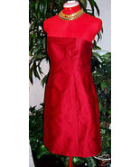 NEW THEORY  $335  RED BROCADE  STRAPLESS  DRESS... - $61.87