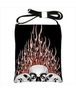 Flaming Skulls Custom Shoulder Sling Bag - $24.99