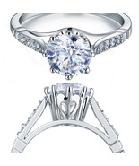 925 Sterling Silver Wedding Engagement Crown Ring Created Diamond  - $99.99