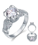 Victorian Engagement Ring Vintage Style Created Diamond 925 Sterling Ring - $99.99+