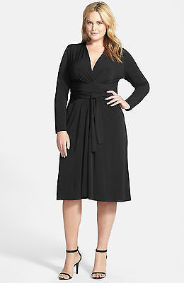Primary image for NWT-$130 MICHAEL KORS ~Size 18W~ Faux Wrap Long Sleeve Plus Size Black Dress NEW