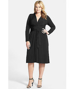 NWT-$130 MICHAEL KORS ~Size 18W~ Faux Wrap Long Sleeve Plus Size Black Dress NEW - $59.99