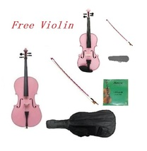 1/8 Pink Cello & Pink Bow,Bag,Strings+1/8 Pink Violin Outfit.Save for 2 ... - $329.00