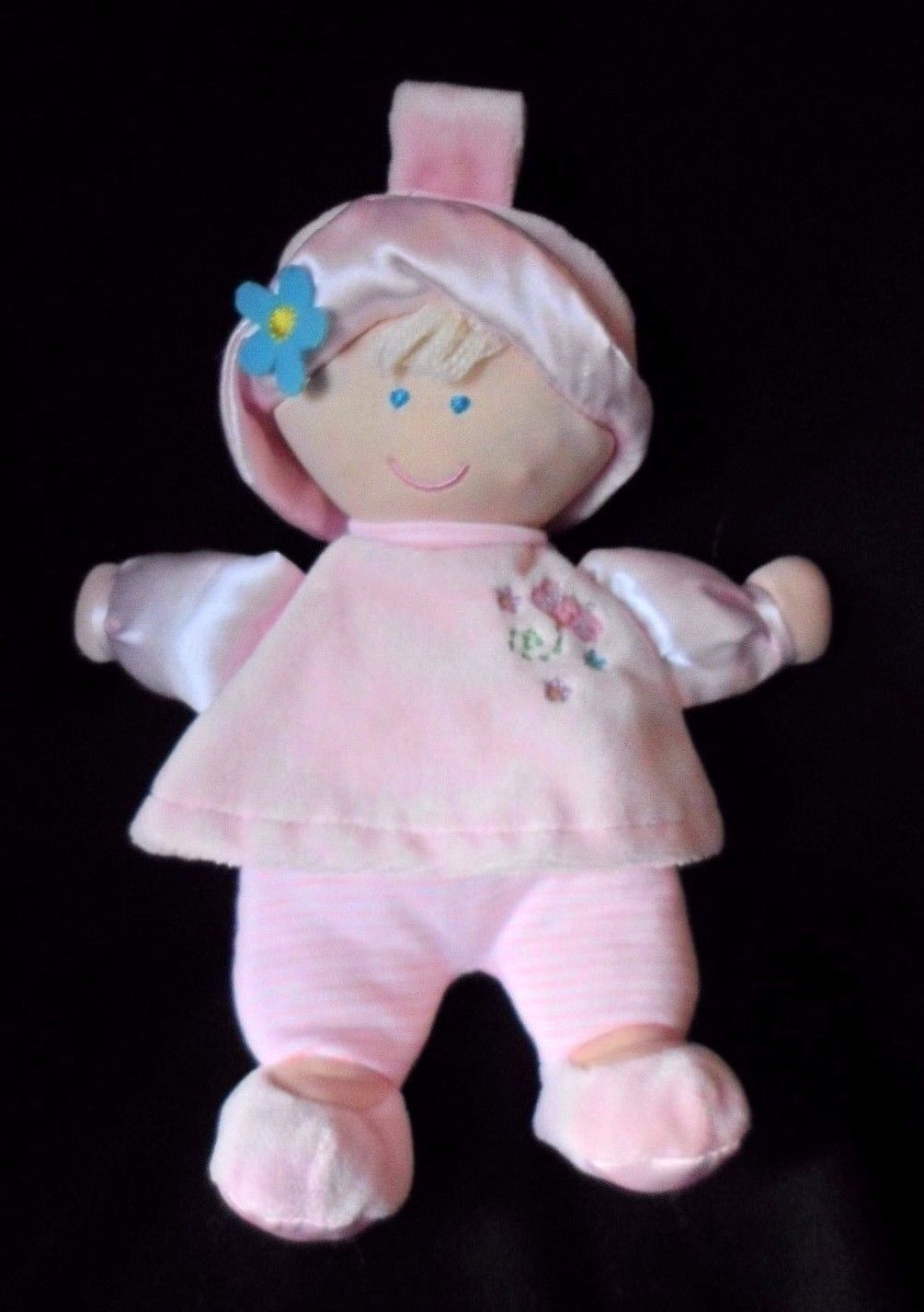 """Kids Preferred Pink Doll Tulip Flower Removable Blonde Plush Satin Baby Toy 8"""" - $9.75"""