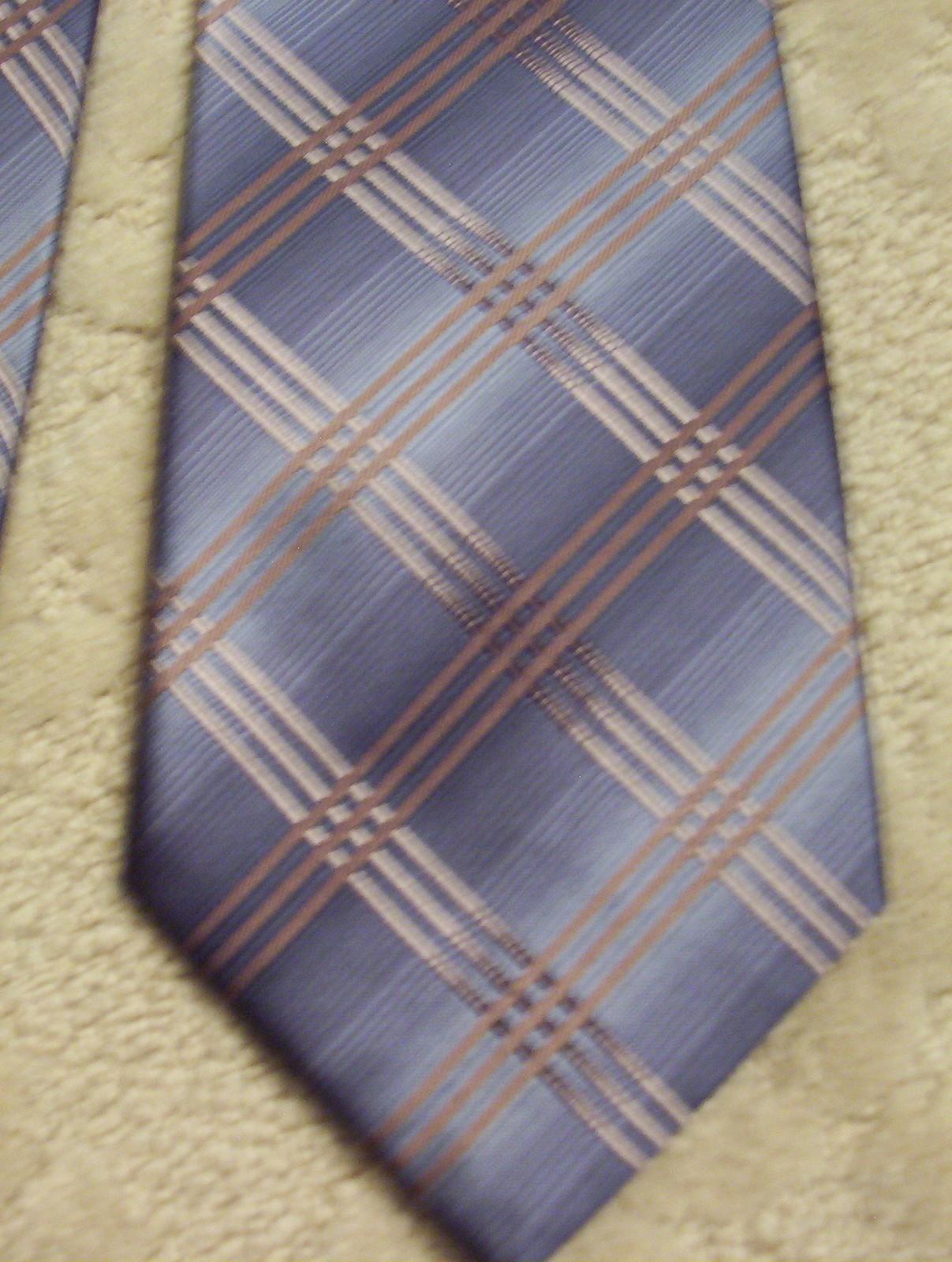 Kenneth Cole New York Men's Neck Tie Silk Blue Grey Tan Brown EUC