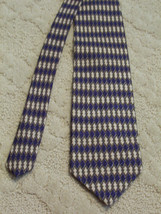 Kenneth Cole New York Men's Neck Tie Silk Diamond Pattern Navy Tan White EUC - $3.99