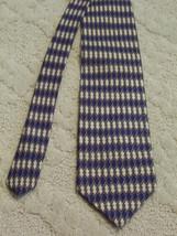 Kenneth Cole New York Men's Neck Tie Silk Diamond Pattern Navy Tan White... - $3.99