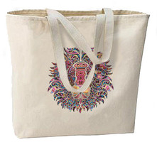 Lion Mosaic New Large Canvas Tote Bag Gifts Events Art - $18.99