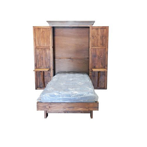 Antique Gray Solid Wood Murphy Hideaway Twin Bed