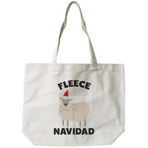 Feliz Navidad Christmas Gift Canvas Bag Custom Funny X-mas Fleece Tote Bag - $21.25 CAD