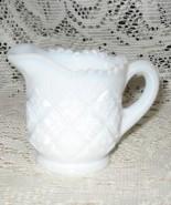 "Milk Glass Creamer-Diamond Quilt-Saw Tooth - Mini- 2.5"" - $8.00"