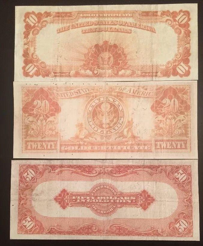 Reproduction Copy Set $10 $20 $50 Bills Gold and 13 similar