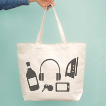 Funny Random Personal Belongings Canvas Bag Mother's Day Gifts Grocery Bags - $21.25 CAD