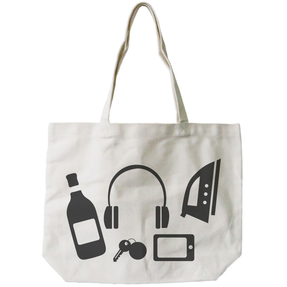 Funny Random Personal Belongings Canvas Bag Mother's Day Gifts Grocery Bags