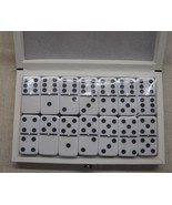 dominoes blk/wh professional size New Double Six Dominoes LeathBox Free ... - $34.95