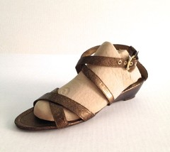 Franco Sarto Gold Leather Sandals Women Size 11 - $19.79
