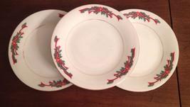"Qty Of 3 Tienshan Poinsettia & Ribbon 7.5"" Salad / Bread Plates Free SHI... - $21.49"
