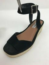 Steve Madden Black Kimmie Flatform Espadrille Strappy Sandals Womens Sz 8 - $39.59