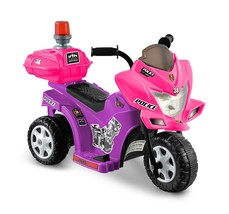 6V Battery Powered Girls Motorcycle Patrol Pink Purple Rechargeable For ... - $69.85