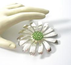 Rhinestone Flower Brooch, Large Daisy, Silver Floral Pin, Gerbera Daisy, Spring  - $23.00