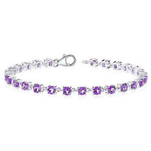 Women's Classic Sterling Silver Round Genuine Amethyst Tennis Bracelet - £148.87 GBP
