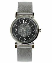 Lucky Brand Carmel Silver Metallic Glitter Leather Strap Crystal Watch 34mm NEW - $47.49