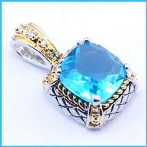 Sterling 925 Silver and Gold Plated Aquamarine Crystal Rectangle Cut Pen... - $59.95