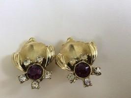 Vintage GT Coro signed Purple & clear  crystal Rhinestone clip on earrings - $34.65