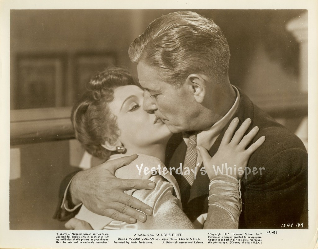 Ronald COLMAN lays a Wet one on SIGNE HASSO ORIGINAL 1947 Movie Photo