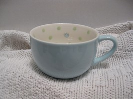 Pastel blue Starbucks Coffee Mug w/ green polka... - $24.99