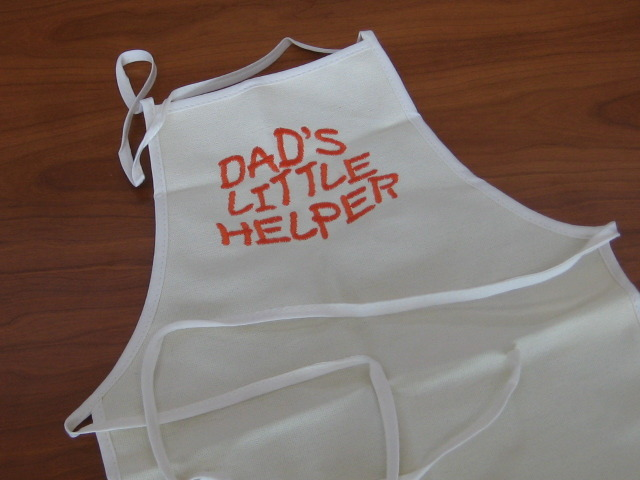 Dad's Little Helper embroidered on Child Canvas Apron